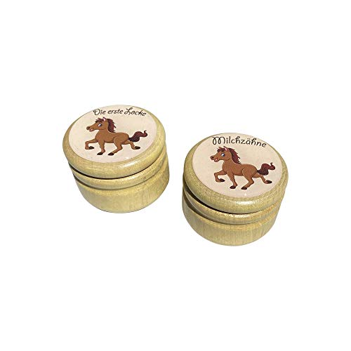 Milchzahndose Milchzähne und Erste Locke Dosen Set, Bilderdosen aus Holz in diversen Motiven für Mädchen und Jungen mit Drehverschluss 44 mm (Pferd)