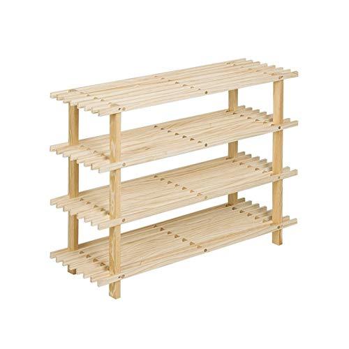 LYLY Zapatero de 4 niveles, estantes de madera para el hogar, organizador de almacenamiento de zapatos de pie, estante para zapatos para entrada, pasillo (color: natural)