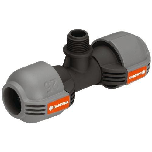 """Gardena Quick&Easy 2786-20 - Unión de T del sistema de aspersión para rosca macho: pieza de conexión para conectar el aspersor emergente en el tubo, 25mm y rosca macho 1/2\"""", técnica de conexión"""