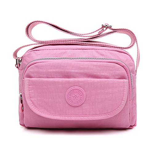 tuokener Crossover Tasche Nylon Damen Schultertaschen Umhängetaschen Handtasche Viele Fächer Wasser-Beständige(Pink)