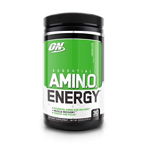 Optimum Nutrition Essential Amino Energy Ready-To-Drink, Lemon Lime, Keto Friendly BCAAs, Preworkout and Essential Amino Acids with Green Tea and Green Coffee Extract, 30 Servings