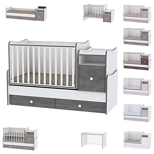 Lit bébé évolutif/combiné Trend Plus Gris Lorelli (Le lit se transforme en : lit d'adolescent,...