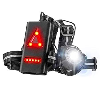 SGODD Rechargeable USB LED Eclairage de Poitrine pour Course, Lampe Running 2 Modes 500LM Étanche avec Feux Rouge, Idéal pour Jogging, Promenade, Courir, Pêche, Escalade, Sports Extérieur