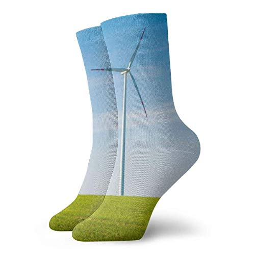 lkjhg478 White Windmill Grass Field Crew Sock Women & Men