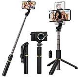 Blukar Palo Selfie Trípode, 4 en 1 Selfie Stick Móvil Bluetooth Extensible con Control Remoto, Trípode Portátil de Aluminio Rotación de 360° para Teléfonos, Gopro, Cámara etc.