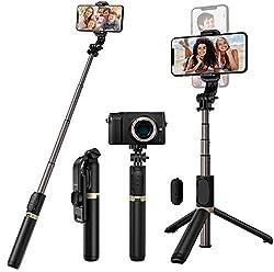 【Perche Selfie 4-en-1】Conception innovante d'une seule pièce, Blukar perche selfie peut être utilisé comme monopode et trépied extensible, stable et ne tremblant pas. Accessoires de prise de vue pratiques, pas besoin de transporter un trépied lourd. ...