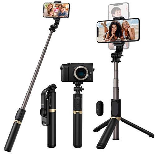 Blukar Palo Selfie Trípode, 4 en 1 Selfie Stick con Control Remoto, Portátil Palo Selfie Stick Móvil Bluetooth de Aluminio Extensible Rotación de 360° para Teléfonos, Gopro, Cámara etc.