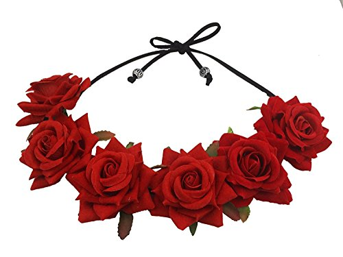 Floral Fall Rose Red Rose Flower Crown Woodland Hair Wreath Festival Headband F-67 (3-Red)