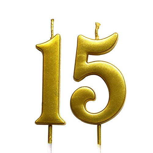 MAGJUCHE Gold 15th Birthday Numeral Candle, Number 15 Cake Topper Candles Party Decoration for Girl Or Boy