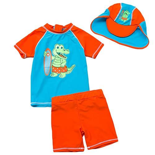 Baby Jungen Zwei Stücke Kurzarm Dinosaurier Badebekleidung Sonnenschutz UPF50 + Rash Guard Badeanzüge 3