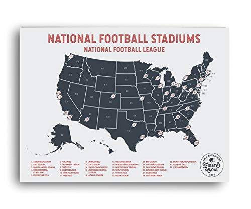 NFL Travel Map - Mark your travels to your favorite professional football stadiums - Great gift for Sports Fans