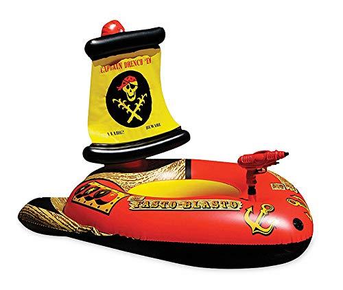 GYAM Asiento Flotante Inflable para Barco Pirata De Agua para Niños,con Pistola De Bombeo Automático,Juguetes De Piscina De Fiesta En La Playa De Jardín De Verano