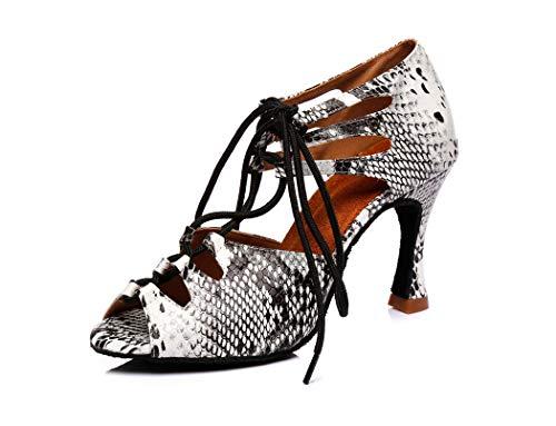 MGM-Joymod Damen Sexy Schnürung ausgestellter Absatz Schlangenleder Synthetik Salsa Tango Latein Charakter Tanzschuhe Hochzeit Party Sandalen, Grau - Grey White/9cm Heel - Größe: 36 EU