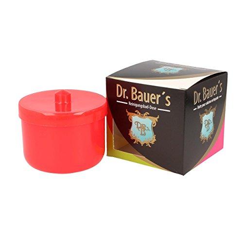 Dr. Bauer´s Reinigungsbad-Dose mit Klarspüleinsatz | Prothesendose | Gebissdose | Prothesendose mit Einsatz | Zahnspangendose (rot)