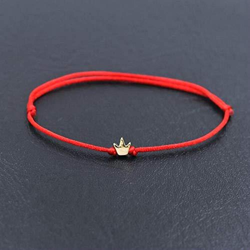 XKMY Pulsera de abalorios de flor de cobre de la suerte, de cuerda roja fina, trenzada, chakra, pulseras para parejas, hombres y mujeres, regalos para mujeres (color de metal: rojo hua