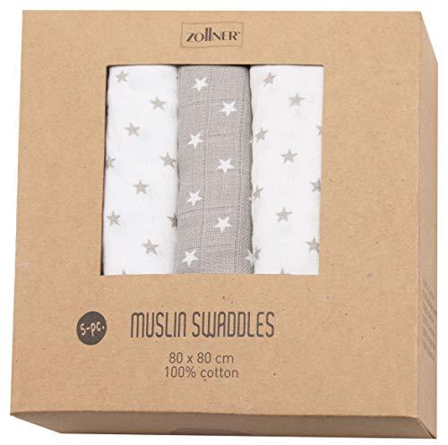 Zollner Paquete de 5 muselinas para bebé 100% algodón, 80x80 cm, con estrellas