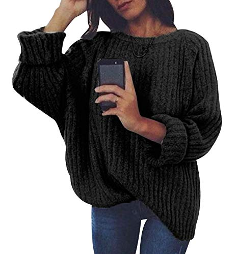 Jersey Punto Mujer Sueter Manga Larga Jerseys Grueso De Señora Oversize Jerséis Largo Jerseis Cuello Redondo Chica Sweaters De Mujer Suéter Pullover Tejido Grueso Anchos Amplio Invierno Negro S
