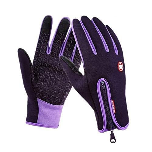Guantes de Invierno cálidos para Pesca con Pantalla táctil para Hombre, Guantes Impermeables para esquí para Mujer, Guantes Negros de Moda Antideslizantes a Prueba de Viento-Purple-1-L