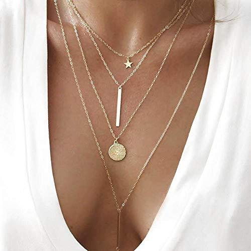 Jovono Bohemia multicouche dames collier avec pentagramme et chaînes pendentif chaînes de collier de modèle pour les femmes