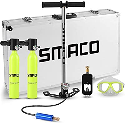 Genrics SMACO Scuba Diving Tank Equipment, Mini Oxygen Tanks for Breathing, 0.5L Mini Portable Dive Oxygen Tank, Pressure & Corrosion Resistant Material with Refillable Design.