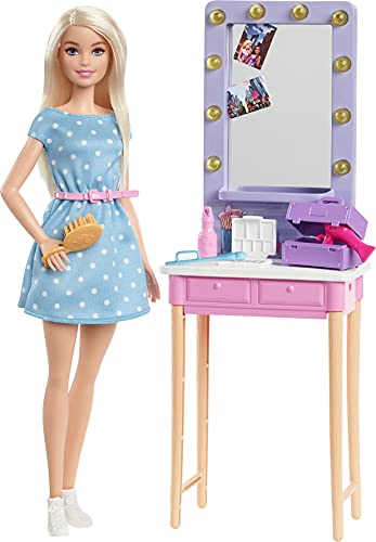 Barbie Malibú y su Backstage Muñeca rubia con set de juego y accesorios de belleza de juguete, regalo para niñas y niños +3 años (Mattel GYG39)