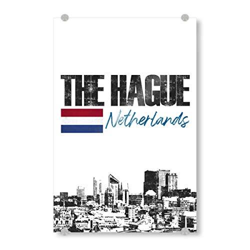 artboxONE Acrylglasbild 120x80 cm Städte Den HAAG Skyline minimalistisch - Bild Holland Flagge Holland