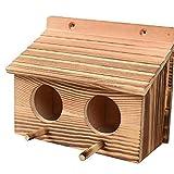 Zonster Casa De Pájaro De Madera Maciza Doble Sala De Madera Juegue Jaula De Jaula Aire Libre De Madera Maciza Birdcage Bird Shelter