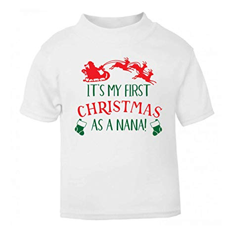 Flox Creative T-Shirt pour bébé First Christmas as a Nana Noir - Blanc - 1-2 Ans