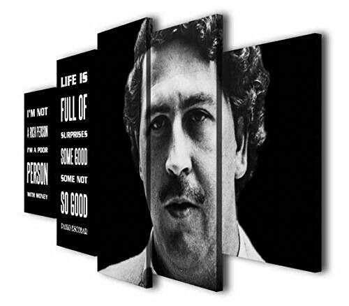 Cuadro en Lienzo Pablo Escobar Cita Kingpin Moderno Impresión de 5 Piezas Impresión Artística Imagen Gráfica Decoracion de Pared - Enmarcado