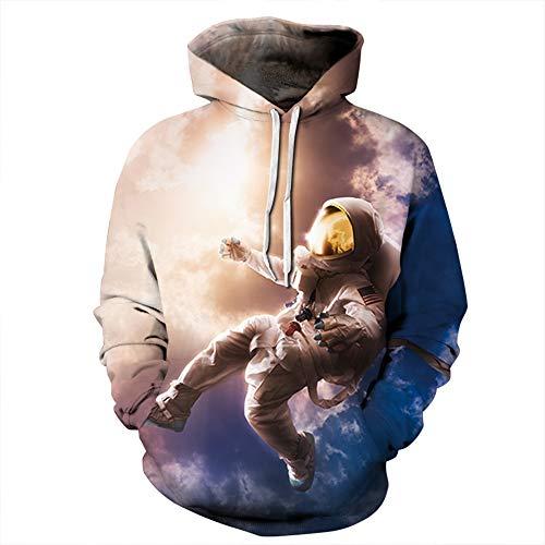 LUOYLYM Camicia A Maniche Lunghe Cappotto Cielo Stellato Astronauta Stampa Digitale Coppie Sciolte Maglioni con Cappuccio Qydm196 S/M