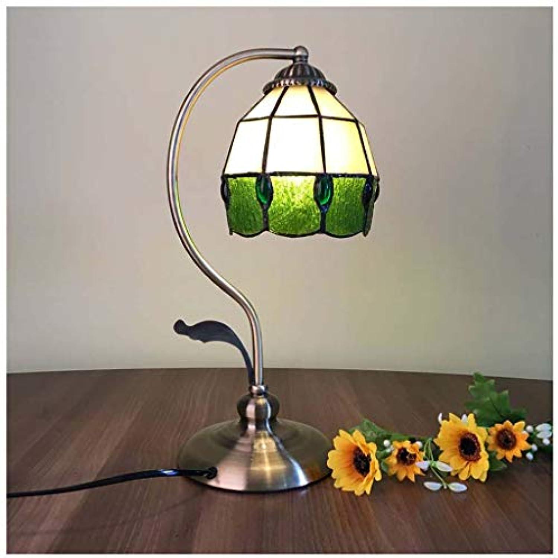 CJW Vintage Glasmalerei Tischlampe - grüne Perle Schlafzimmer Mittelmeer Studie Schreibtischlampe 5 Zoll
