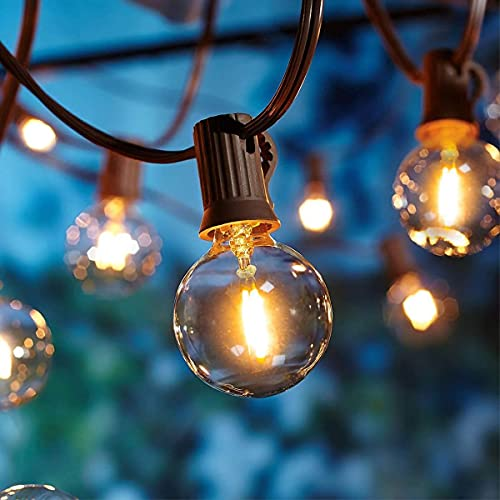 Catena Luminosa a LED da Esterno ed Interno, Lunghezza 9.5m, 25+2 Lampadine a LED G40, Impermeabili IP44, Luce Bianca Calda, Luci LED Decorative per Arredo Giardino Pergolato Gazebo e Terrazza