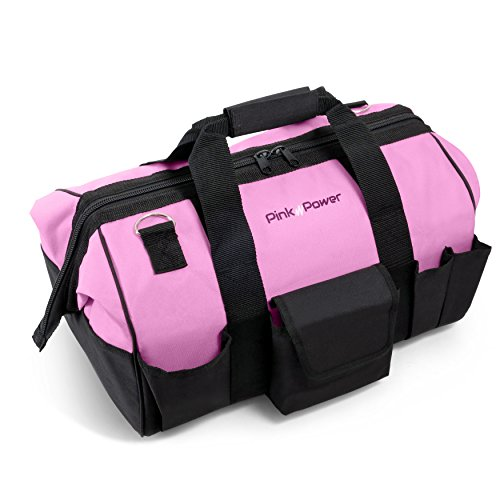 Pink Power Pink Tool Storage duffel bag with pockets and shoulder strap