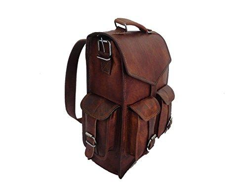 """15"""" Vintage leather backpack Laptop Messenger Lightweight School College Bag Rucksack Sling for Men Women by Indian Hando Art"""