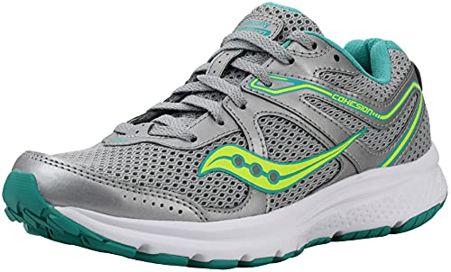 Saucony Women's Cohesion 10 Running Shoe, Grey/Teal/Citron, 8.5 D - Wide