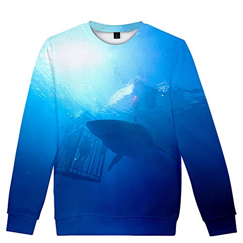 47 Meters Down: Uncaged Pullover Pullover Printing Sweatshirt Tops Sueltos de Manga Larga for Hombres y Mujeres Unisex (Color : A02, Size : XS)