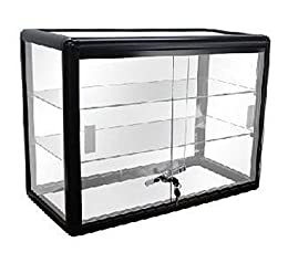 Dimensions: 24'' x 12'' x 18'' Color: Black Material: Black Anodized Aluminum with Tempered Glass Includes Two Shelves Includes Lock