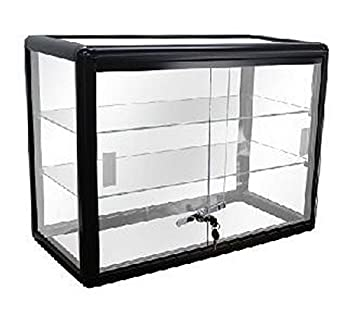 Elegant Black Aluminum Display Table Top Tempered Glass Show Case Sliding Glass Doors with Lock