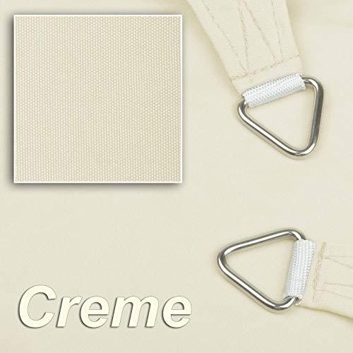 hanSe® Marken Sonnensegel Sonnenschutz Wetterschutz Wetterbeständig 100% Polyester wasserabweisend Quadrat 2x2 m Creme