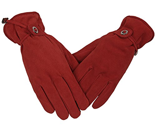 Womens Snow Gloves Touchscreen Deerskin Suede Leather Winter Thermal Silky Velour Lining Cold Proof Hands Warm Gifts for Girls (Red,Small)