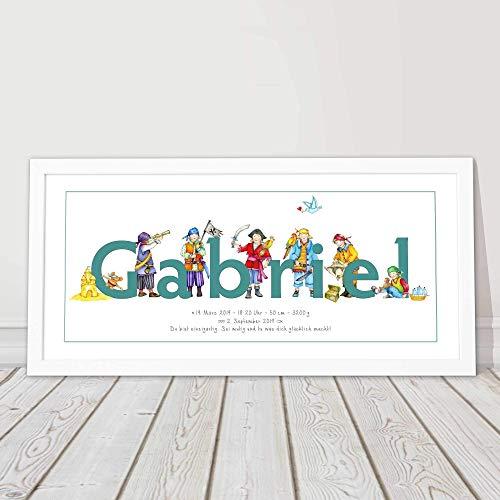 Zur Geburt, Taufe, Junge, Geschenk, Babygeschenk, gerahmtes Bild personalisiert mit Namen, Kinderzimmerbild, 1. Geburtstag