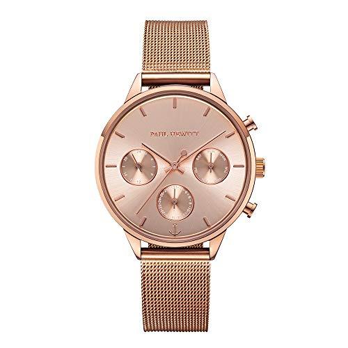 PAUL HEWITT Armbanduhr Damen Everpuls White Sand Roségold Mesh - Damen Uhr in Roségold mit einem abgestimmten Meshband aus Edelstahl und einem weißen Ziffernblatt