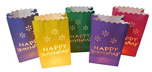 10 Stück Papier Lichttüten Lichtertüten Happy Birthday Geburtstag für Teelichter Kerzen Laternen bunt Kerzenhalter Deko Tischdeko Kerzentüten