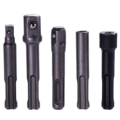 Dakota 3Pcs SDS Plus Socket Driver Drills Drill Bit 1/4' 3/8' 1/2' Socket Adapter +2Pcs 1/4' Hex Bit Holder #281042