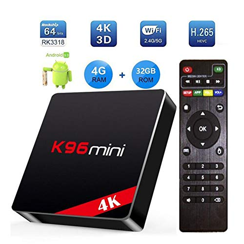 LOISK Android TV Box 4G RAM 32G ROM, K96 Mini Android 9.0 TV Box RK3318 Quad-Core 64bit Cortex-A53, 4K / WLAN 2.4G / 5.0G / USB 3.0 Smart TV Box Android Set-Top-Box