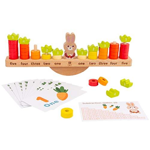 OUTEYE Conigli di Legno Ravanello Matematica Numeri digitali Giocattoli cognitivi per Bambini Giochi educativi per Bambini in età prescolare Bilanciamento Colori di Registro Sorter Stacker