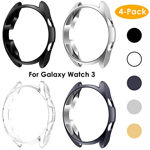 NANW [4 Pack] Case Compatible with Samsung Galaxy Watch 3 45mm, Scratch-Resist Frame Protective Bumper Soft TPU Case Cover Shell for Galaxy Watch 3 45mm Bumper Case