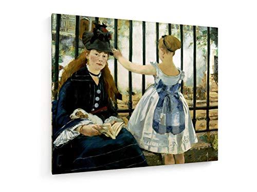 weewado Edouard Manet - Il Treno 60x50 cm Belle Stampe d'Arte Tela Textile - Arte della Parete - Vecchi Maestri/Museo