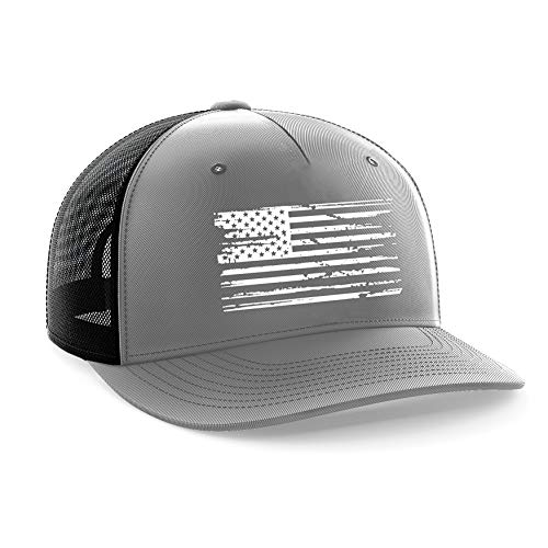 Tactical Pro Supply American Flag Snapback Hat - Embossed Logo American Cap for Men Women Sports Outdoor - Gray (White Flag)