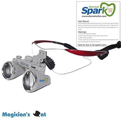 Spark 両眼めがね式ルーペ 3.5x 500-600mm歯科外科手術手作業専用 CH350XL 製作 機械 作業 生物研究 開発 手術 歯科 医用 医者 眼科 外科にも使える 拡大鏡 虫眼鏡 双眼ルーペ 時計見ルーペ